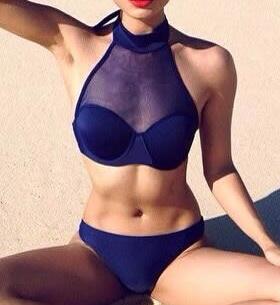 Transparent Navy Bikini - Top + Bottom