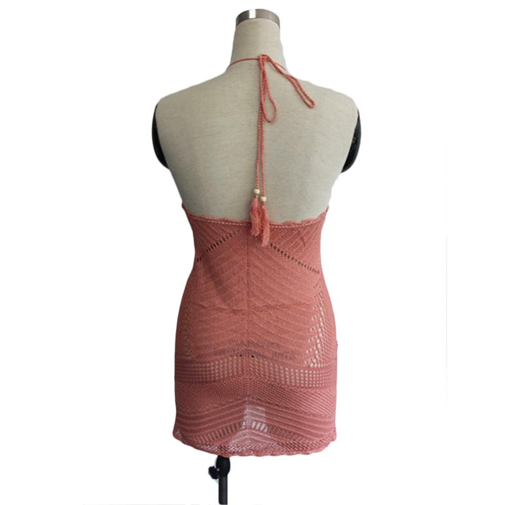 Pink Crochet Beach Cover