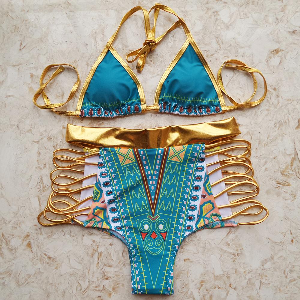 Gold Pattern High Waist Bikini