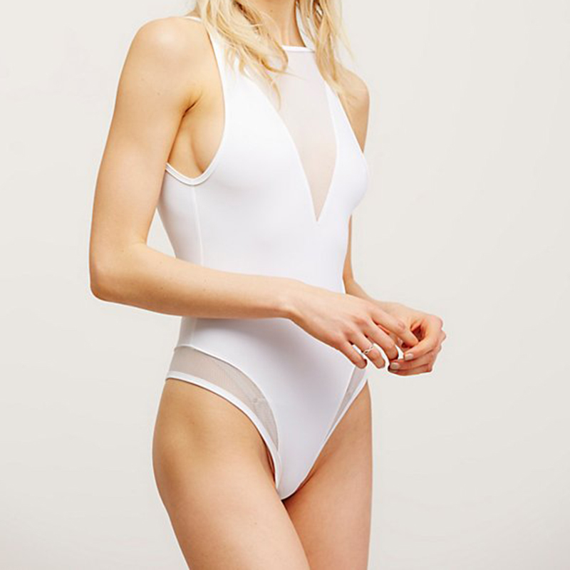 Mesh Splicing Swim Suit
